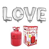 Party Factory Ballongas Helium 420 Liter im Set mit Folienballon Love Silber