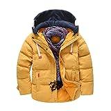 Vovotrade®Winter Children Boys Warm Coat Cotton Zipper Coat, Kids Windproof Detachable Cap Jackets Outwear With Pocket(Without Scarves) (7-8T, Yellow)
