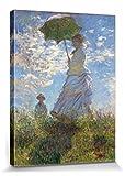 1art1 56750 Claude Monet - Frau Mit Sonnenschirm, Madame Monet Mit Ihrem Sohn, 1875 Leinwandbild Auf Keilrahmen 80 x 60 cm