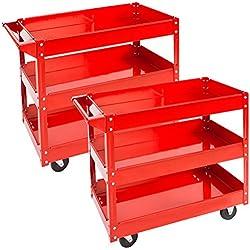 TecTake Chariot servante d'atelier à outil sur roulettes - diverses modèles - (2x 3 étagères | No. 402422)