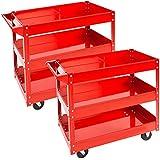TecTake Conjunto de 2 Carro de taller de 3 bandejas con ruedas de montaje carro de herramientas rojo