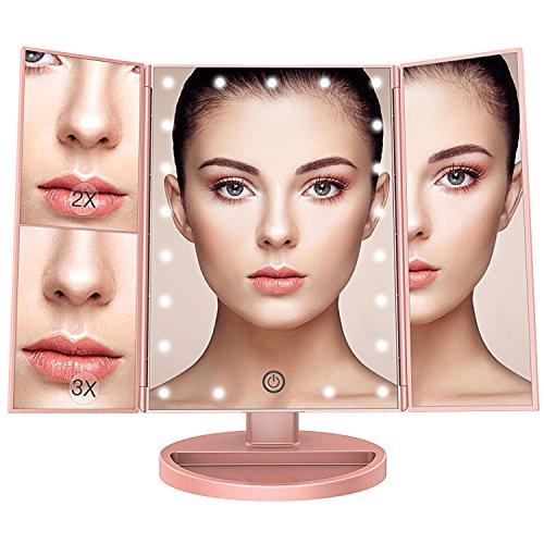 BESTOPE Tischspiegel Schminkspiegel Beleuchtet mit 21 Leuchtmittel Make Up Spiegel 2X/3X Vergrößerung kosmetikspiegel Stromversorgung durch Akku oder USB-Aufladung(Rose Gold)