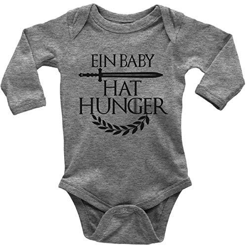 Mikalino Babybody mit Spruch für Jungen Mädchen Unisex Langarm EIN Baby hat Hunger | handbedruckt in Deutschland | Handmade with Love, Farbe:Heather, Grösse:56
