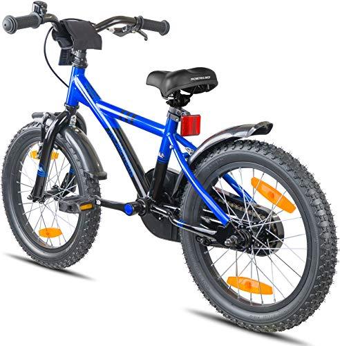 Prometheus Bicicletta per Bambini e Bambine da 5 Anni nei Colori Blu e Nero da 16 Pollici con rotelle e contropedale – BMX da 16″ Modello 2019 - 8