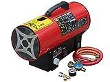 Rotek Gas-Direktheizer mit 15 kW Heizleistung und integriertem Thermostat, Rotek HG-15-230-TI im Set mit Druckregler, Schlauchbruchsicherung und Schlauch