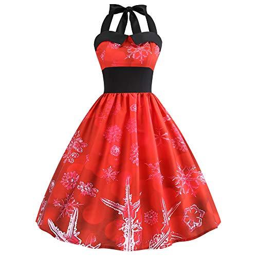 Femme Noël Vintage Élégant Mini Robe, Femmes Vintage 1950's Audrey Hepburn Pin-up Robe de Soirée Cocktail, Style Halter Années 50 à Pois Ba Zha Hei(Rouge,S)