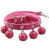 Floridivy Multi Color 5 Bell-Nette Karikatur-Hundehalsband-Bügel-Schnalle Verstellbare PU Tierbedarf Katzen-Kätzchen-Welpen-Kragen-Seils rosarot M