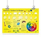 nikima Kinder Lernposter Formen, Farben & Körper - Plakat für Kindergarten Schule Schulanfang Schuleintritt Einschulung Kinderzimmer Deko Wandbild - Größe DIN A3-420 x 297 mm