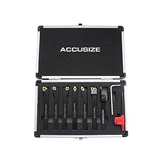 AccusizeTools - 7 Pieces/Set 3/8'' Indexable Carbide Turning Tools, 2387-2003