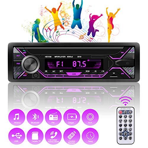 RIRGI Autoradio Bluetooth, Radio de Coche 4 x 60W, Soporta Llamadas Manos Libres MP3/FM/AM/SD/AUX/USB Archivo y Control Remoto Inalámbrico
