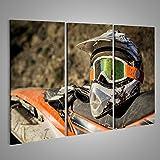 Bild Bilder auf Leinwand Schmutziger Motorrad-Motocross-Helm mit Schutzbrille Verschiedene Formate ! Direkt vom Hersteller ! Bilder ! Wandbild Poster Leinwandbilder ! EOH