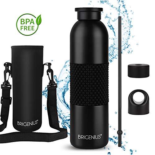 Trinkflasche Thermosflasche, Auslaufsichere Wasserflasche Vakuum-Isolierte Sportflasche aus Edelstahl Fahrradflasche für Kinder, Yoga, Camping Freien mit Strohhalm, Neopren Tasche, Schwammbürste