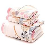 JUNHONGZHANG 3 Stück 100% Baumwolle Luxus Blätter Gaze Baumwolle Handtuch Set Handtücher Für Erwachsene Frauen/Kinder Handtuch Für Badezimmer, Rot