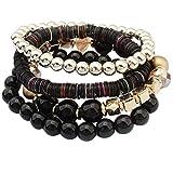 DAY.LIN Armband Damen Armbänder Frauen 4 Stück Bunte Perlen Multilayer Bangle Handmade Armbänder Florid Cool (Schwarz)