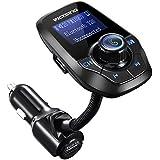 Transmetteur FM Bluetooth VicTsing Kit Voiture Main-libre Sans Fil Adaptateur Radio Chargeur avec Double Port USB et Port Audio 3,5mm, Écran d'Affichage 1,44 Pouces pour iPhone 7 7 Plus SE, Galaxy S7 S6, HUAWEI P10 P9 P8, Sony Xperia, HTC, etc(Noir)
