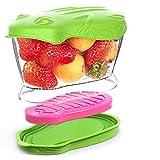 SELEWARE Frutta Contenitori, Contenitori frigo con Pack di Ghiaccio Grande per Il Fresco Frutta Insalata Verdura, plastica di Tritan (Mela Verde, 900ML)