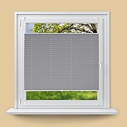 ECD Germany Plissee 65 x 100 cm - Grau - Klemmfix - EasyFix - ohne Bohren - Sonnen- und Sichtschutz - für Fenster und Tür - inkl. Befestigungsmaterial - Jalousie Faltrollo Fensterrollo Rollo