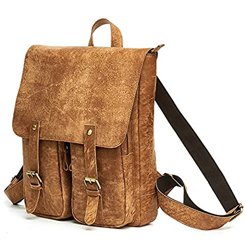 Leeds XL Roll Top Leather Messenger Rucksack Day Pack Bike Rucksack Backpack School Bag Laptop Rucksack Bag Men's Women's Vintage Retro Brown (Brown Leather Messenger Bag)