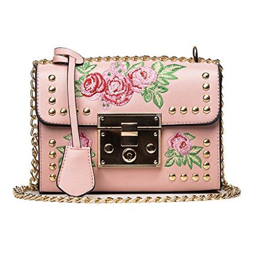 URSING Damen Kuriertaschen Stickerei Rose Crossbody Umhängetaschen Schultertaschen Kette Körper Taschen Messenger Bags Ledertasche Abendtasche Freizeittasche Shoppingtasche Shopping Bag (Pink) (Kleine Klappe-umhängetasche)
