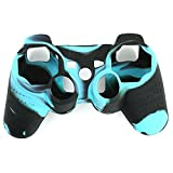 Silicon Case - SODIAL(R)Black and Blue Silicon Protective Skin Case Cover for Sony Playstation PS3 Remote Controller