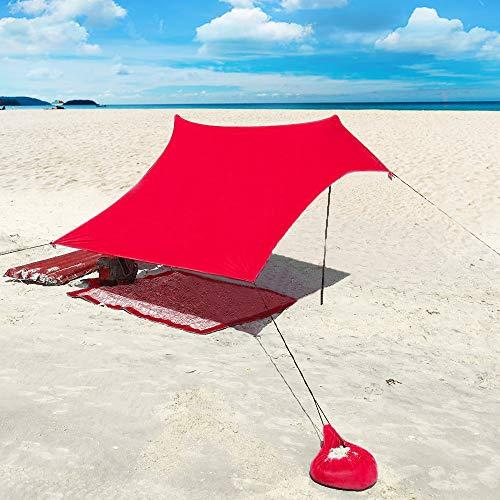 XISHUAI Strandzelt mit Sand Anker - Portable Strandmuschel uv Schutz mit 100{650e993af137f100dac73afc6de26244149b8edc42d972fd312f01b683503f7d} Lycra - Sonnensegel für 2-4 Personen 210 X 210 cm für Strand Camping Wandern Angeln Picknick (Rot)