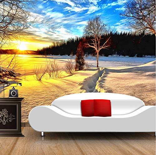 VVBIHUAING 3D Wand Wandbilder Dekorationen Aufkleber Tapete Verschneiter Sonnenuntergang Wohnzimmere Inrichtung Kunst Kinder Küche (W) 140x(H) 100cm