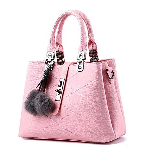 HQYSS Borse donna Borsa trendy classico dolce signora spalla Messenger , light gray pink