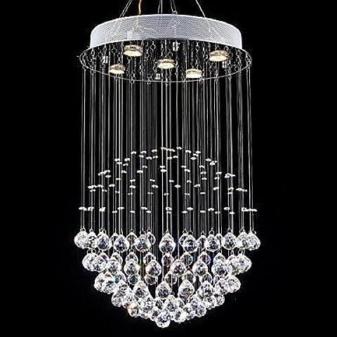 ASNSWDC® arañas de cristal lámparas LED 5 luces modernas canpoy redonda de cristal k9 transparente accesorios salón de plata , Cold White-220-240V