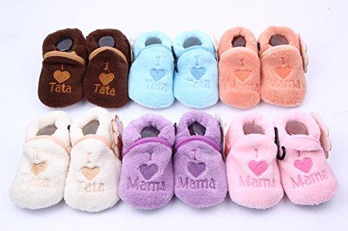 Etosell Chaussures de Lit Souple Chaud en Coton 6 Couleurs pour Bébé unisexe 0-12 mois (Beige) Café