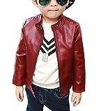 LaoZan Kinder Jungen Kunst Lederjacke Frühling Herbst Bomber Jacke Mantel Rot 150cm