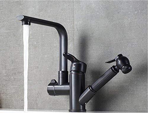 Waschbecken Wasserhahn Öl eingerieben Bronze Becken Wasserhahn drehen einzigen Handgriff heiß kalt herausziehen Badezimmer (Waschbecken Wasserhahn öl Eingerieben Bronze)