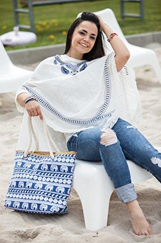 styleBREAKER borsone da spiaggia con design etnico con elefanti e chiusura con cerniera, borsa a tracolla, borsa per shopping, donna 02012063, colore:Türkis Pink