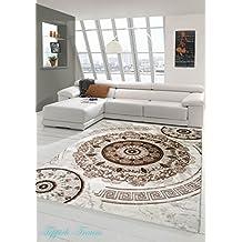 Alfombra moderna de diseño alfombra oriental con la alfombra Glitzergarn sala de estar con adornos clásicos círculo orientales en crema Marrón Beige Größe 80x150 cm