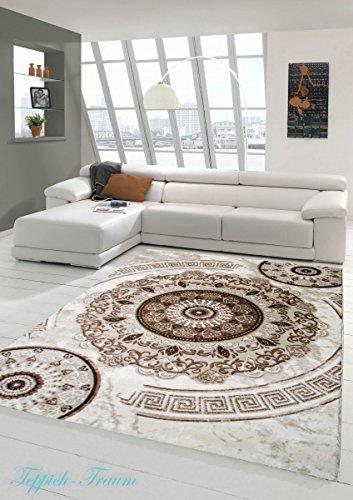 Designer di tappeti Lurex Crema classico Patterned Beige Brown (Traumteppich)