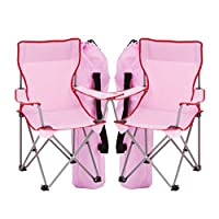 simpa 2 x Childrens Folding Camping Chairs - Avaibale in Pink, Blue or Assortment Coloured Sets - Fishing Hiking Picnic Garden Collapsible Outdoor With Carrying Bag.