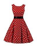 MISSMAO Damen 50s Retro Vintage Ärmellos Tupfen Rockabilly Kleid Partykleider Cocktailkleider Faltenrock S Roter großer weißer Punkt