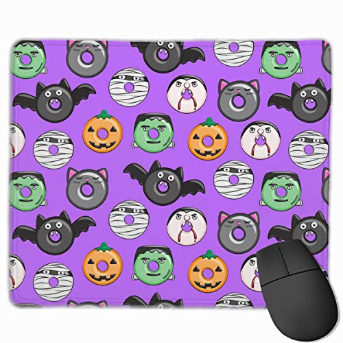 Halloween Donut Medley - Purple - Monsters Pumpkin Frankenstein Black Cat Dracula C18BS_62486 Mouse pad Custom Gaming Mousepad Nonslip Rubber Backing 9.8