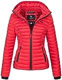 Marikoo Damen Jacke Steppjacke Übergangsjacke mit Kapuze Gesteppt B600 [B600-Samt-Rot-Gr.XS]