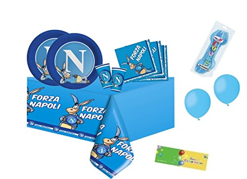 Big party kit n. 6 compleanno ssc napoli + forchette e palloncini celeste