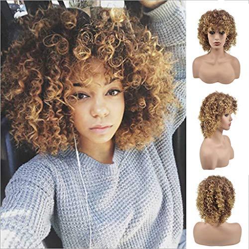 Perücke, blond, flauschig, mit Rosenmuster, gelockt, Blond, Farbverlauf (Afro Perücken Billig)
