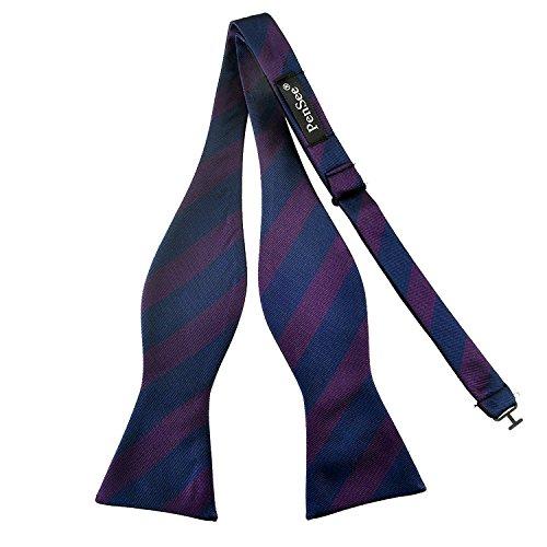 PenSee Herren Fliege, zum Selbstbinden, klassisches Design mit Streifenmuster, gewebte Seide, verschiedene Farben erhältlich Gr. One size, Dark Blue & Wine Red Stripe Blue Stripe Bow Tie
