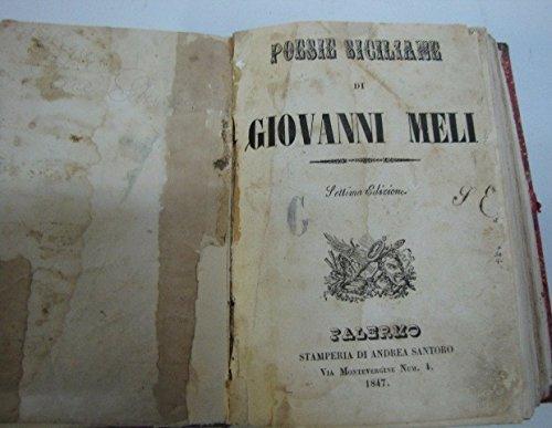 POESIE SICILIANE GIOVANNI MELI 1847 STAMPERIA ANDREA SANTORO ANTICO