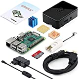 Globmall Raspberry Pi 3 Modello B Starter Kit e 32GB Micro SD Card con NOOBS, Black Case e Power Supply 5V 2.5A con Switch