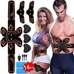 Idea Regalo - PiAEK Elettrostimolatore per Addominali,Stimolatore Elettrostimolatore Muscolare ABS EMS Addome/Braccio/Gambe con Ricaricabile per Uomini Donne Addome/Braccio/Allenamento Gambe