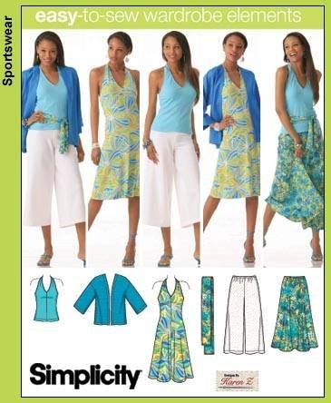 Simplicity 4193 Misses/Damen Limono-Jacke, Schärpe und Strick, Gaucho-Hosen und Kleid oder Topgröße BB 20W-28W -
