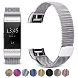 Mornex Bracelet Compatible Fitbit Charge 2, Métal Bande en Acier Inoxydable Réglable Milanaise Strass Remplacment Sangle, Argente