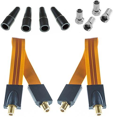 Poppstar 2x 28cm SAT Fensterdurchführung (Koax Kabel sehr flach 0,2mm, vergoldete Kontakte), 4x F-Stecker, 4x Gummitülle, für Fenster und Türen, orange