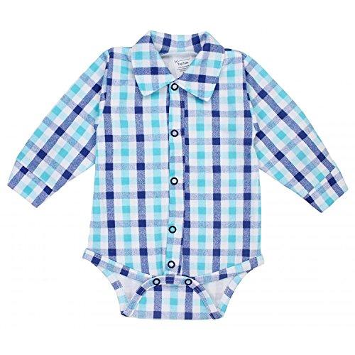 TupTam Baby Jungen Hemdbody Langarm mit Kragen Baumwolle, Farbe: Karomuster Blau/Dunkelblau, Größe: 68