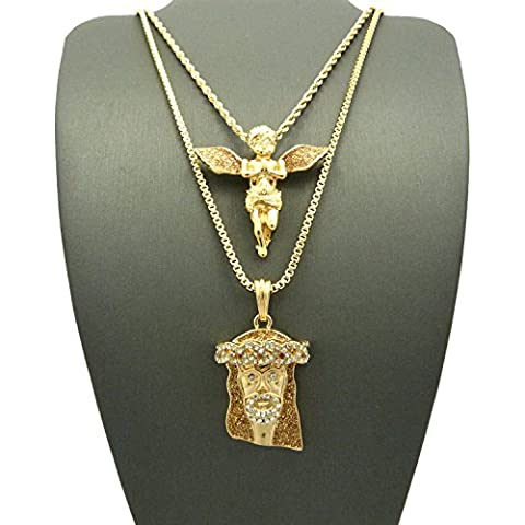 Angelo in preghiera e Pave Gesù Glimmer Micro Ciondolo Set 61cm 76cm corda/Box catene in oro