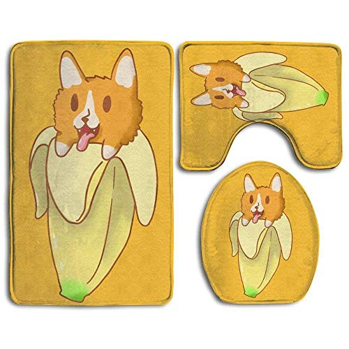 Baby Bath Mat, 3 Piece Bathroom Rug Set Cute Banana Corgi Skidproof Flannel Contour Rugs Antibacterial Cover Mat for Men Women Kids, Bathroom Rugs, Bathroom Accessories (Banana-clip-pack)
